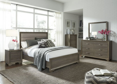 Hartly Gray Wash Upholstered Panel Bedroom Set