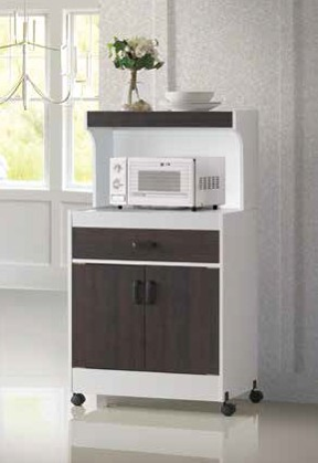 White & Espresso Microwave Cart by Furniture World