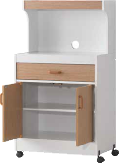 White & Oak Microwave Cart by Furniture World