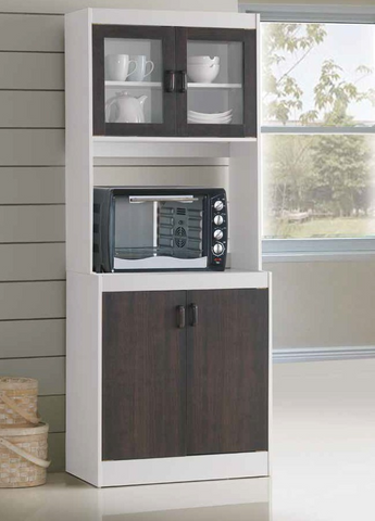 White & Espresso Microwave Cabinet by Furniture World