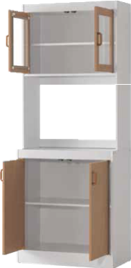 White & Oak Microwave Cabinet by Furniture World