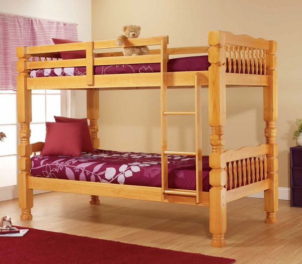 Honey Pine 4'' Post Twin over Twin Bunk