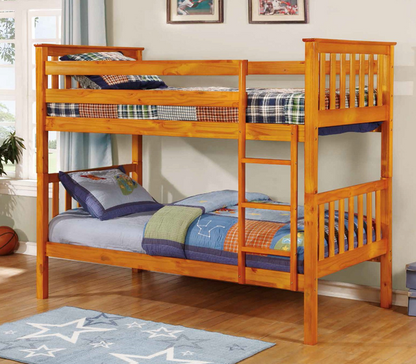 Squared Honey Post Twin over Twin Bunk