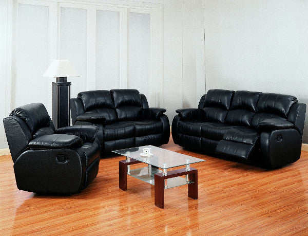Leather Reclining Living Room Set 3PC