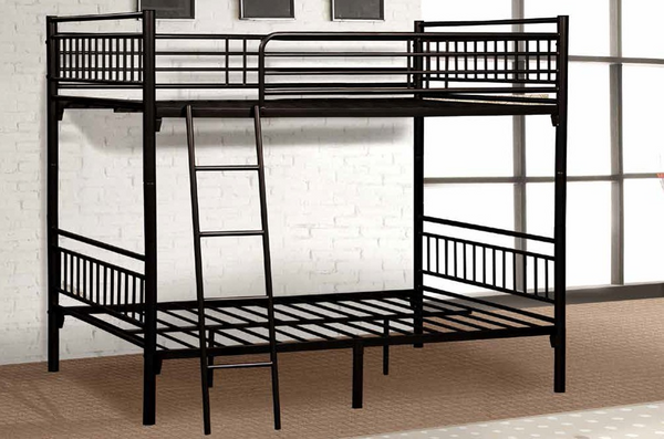 Black Twin over Twin Metal Bunk Bed by Furniture World