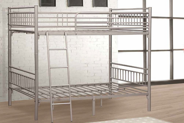 Silver Twin over Twin Metal Bunk Bed by Furniture World