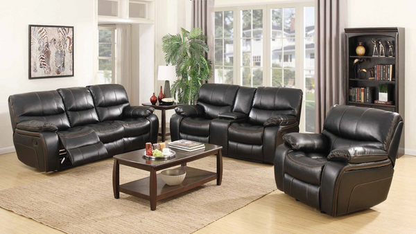 Contrast Stitch Recliner Living Room Group by Furniture World