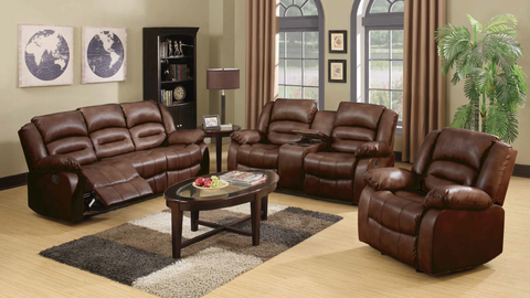 4 Recliner with Console Leather Living Room Group by Furniture World