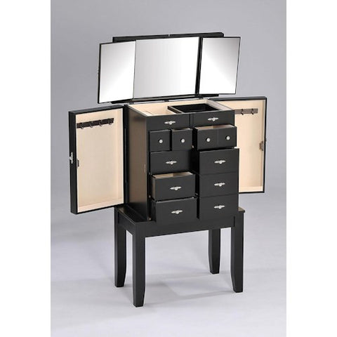 Acme Furniture Tiren Transitional Multi-Compartment Jewelry Armoire with Trifold Mirror