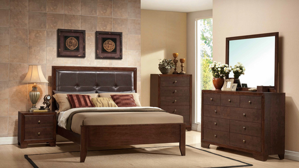 Brown Cherry w Padded Headboard Bedroom Group by Furniture World