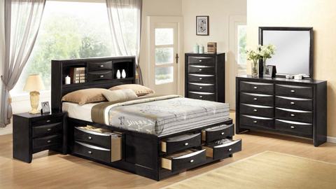 6-Drawer Storage Bedroom Group in Black by Furniture World