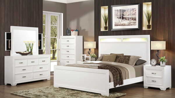 Contemporary Semigloss Bedroom Group by Furniture World