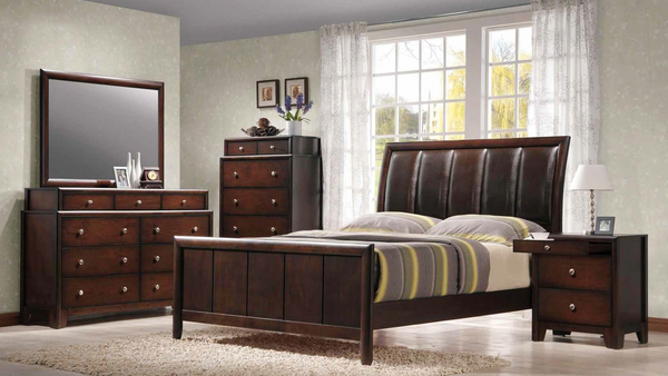 Walnut Bedroom with Burnt Accents by Furniture World