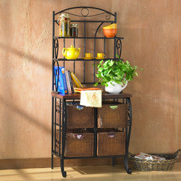 Southern Enterprises Iron/Wicker Bakers Rack