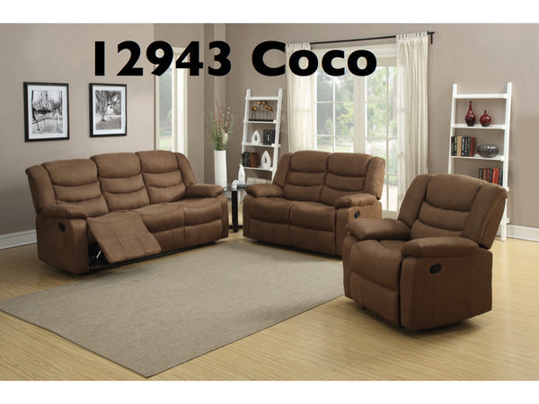 Chenille Fabric Recliner Living Room Set 2PC