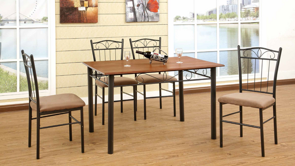 Medium Oak and Black Metal Dining Group by Furniture World