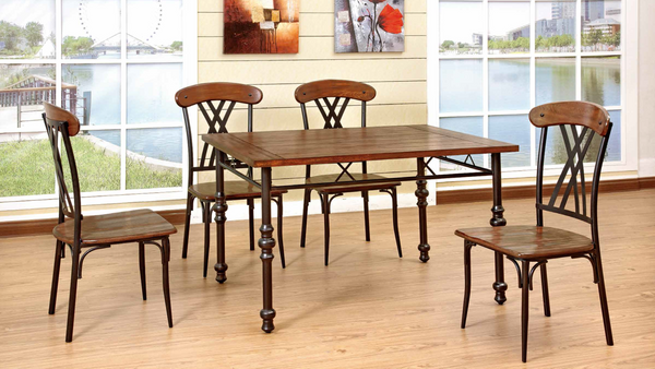 Paneled Walnut and Black Metal Dining Group by Furniture World