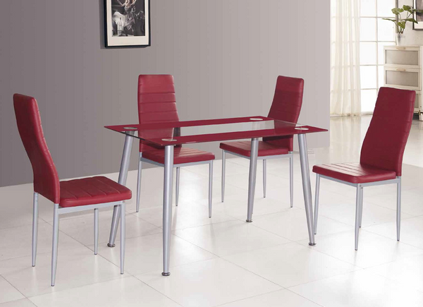Red and Grey Dining Group by Furniture World