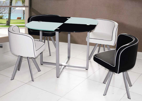 Checkered Black and White Dining Group by Furniture World