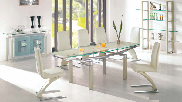 Beige and Clear Glass with Two Leaf Dining Group by Furniture World