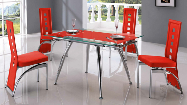 Red Tempered Glass and Chrome Base Dining Group by Furniture World