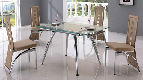 Beige Tempered Glass and Chrome Base Dining Group by Furniture World
