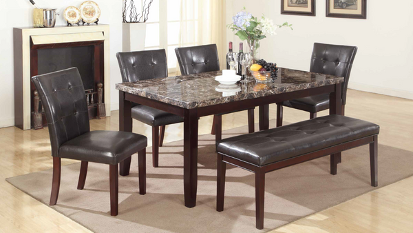 Brown Faux Marble Dining Group by Furniture World