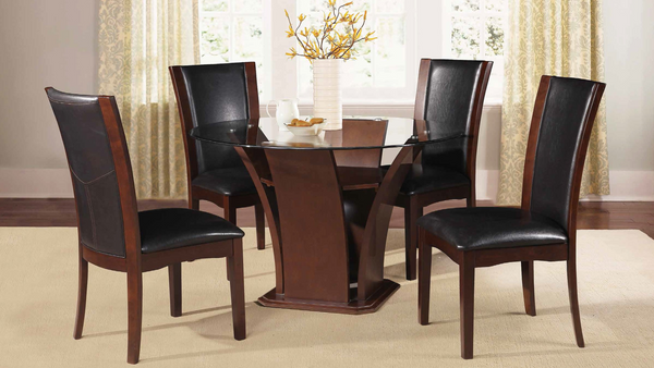 Modern Espresso Rounded Dining Group by Furniture World