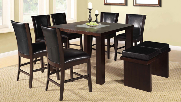 Espresso and Crackled Glass Counter Height Dining Group by Furniture World