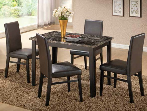 Black & Espresso Faux Marble Dining Group by Furniture World