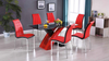 High Gloss Red and Black Dining Group by Furniture World