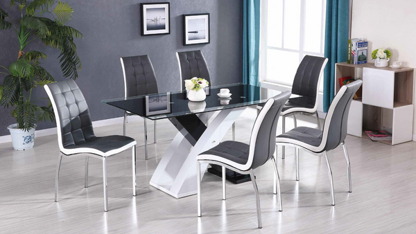High Gloss Grey and White Dining Group by Furniture World