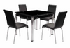 Black Tempered Glass with End Extension Dining Group by Furniture World