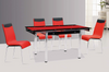 Red and Black Tempered Glass with End Extension Dining Group by Furniture World