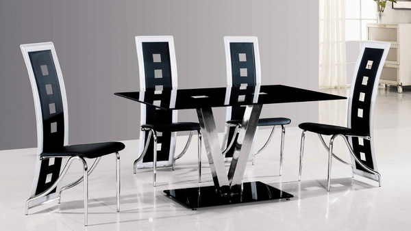 Black & White Chrome Dining Group by Furniture World