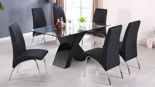 High Gloss Chrome Dining Group by Furniture World