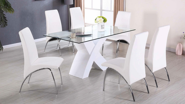 High Gloss Chrome Dining Group in White by Furniture World