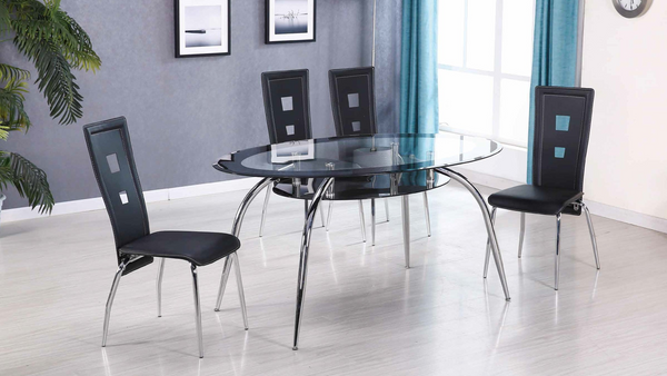Oval Glass and Chrome in Black Dining Group by Furniture World