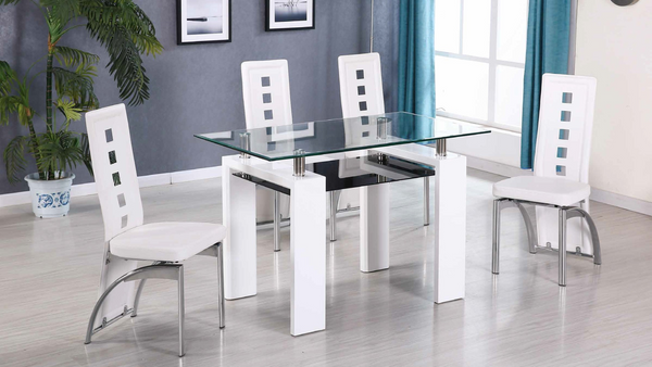 Glass and Chrome Dining Group in White by Furniture World