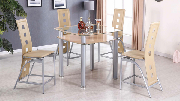 Modern Beige Counter Height Glass Dining Group by Furniture World