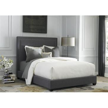 Liberty Furniture Upholstered Panel Bed in Dark Gray Linen Fabric