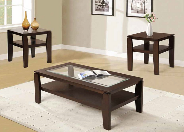 Brown Beveled Glass 3PC Occasional Set by Furniture World