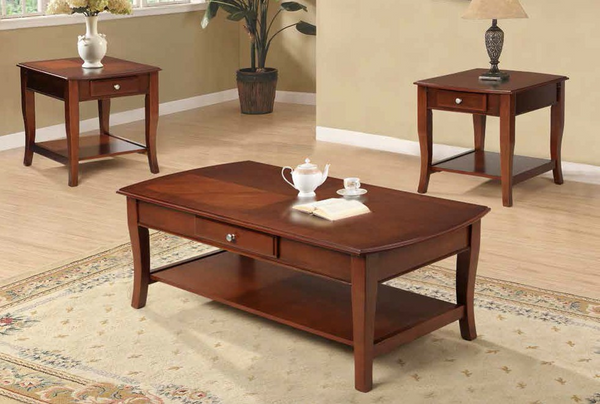 Cherry 3PC Occasional Set w Storage by Furniture World
