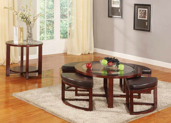 5 Pack Round Table & Padded Stools by Furniture World
