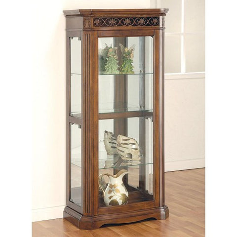 Acme Furniture Alden Cherry Finish Curio Cabinet with Side Doors