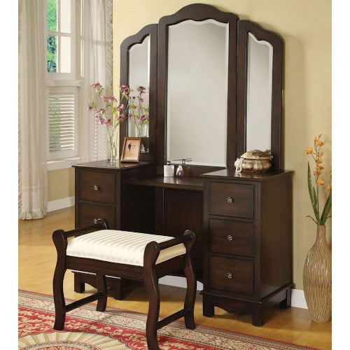 Acme Furniture Annapolis Vanity Set with Upholstered Stool