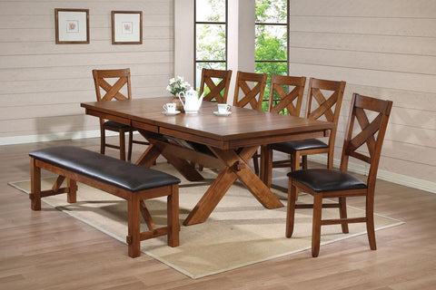 Acme Furniture Apollo Standard Height Dining Set with Trestle Table and Mixed Seating