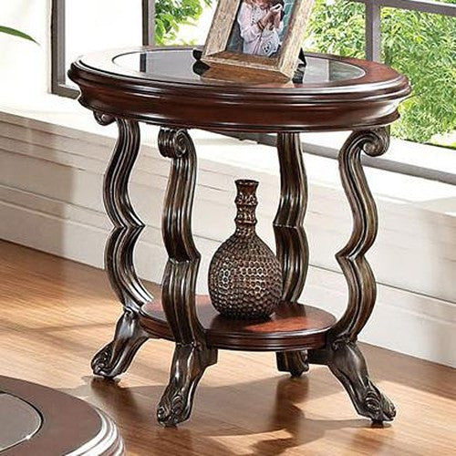 Acme Furniture Bavol End Table with Tempered Glass Top