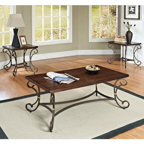 Acme Furniture Barnabe 3 Piece Coffee and End Table Set with Shaped Legs