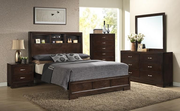 Contemporary Walnut Bedroom Set with Bookcase Headboard